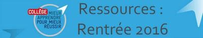ressources rentrée 2016